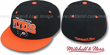 Flyers NHL 2T TEAM-ARCH Black-Orange Fitted Hat by Mitchell & Ness