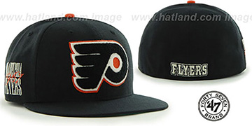 Flyers NHL CATERPILLAR Black Fitted Hat by 47 Brand