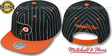 Flyers PINSTRIPE 2T TEAM-BASIC SNAPBACK Black-Orange Adjustable Hat by Mitchell & Ness