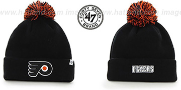 Flyers POMPOM CUFF Black Knit Beanie Hat by Twins 47 Brand