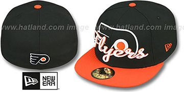 Flyers 'SCRIPT-PUNCH' Black-Orange Fitted Hat by New Era