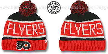 Flyers THE-CALGARY Orange-Black Knit Beanie Hat by Twins 47 Brand