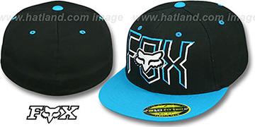 Fox 'HEADLINER' Black-Blue 210 Fitted Hat by FlexFit