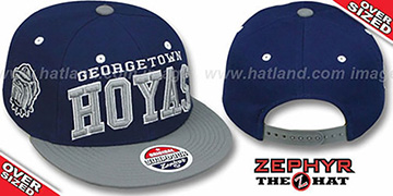 Georgetown  '2T SUPER-ARCH OVER-SIZED SNAPBACK' Navy-Grey Adjustable Hat by Zephyr