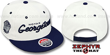 Georgetown 2T HEADLINER SNAPBACK White-Navy Hat by Zephyr