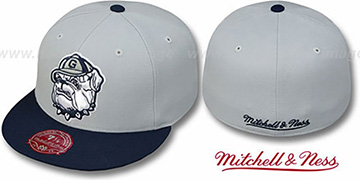Georgetown '2T XL-LOGO' Grey-Navy Fitted Hat by Mitchell & Ness