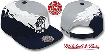Georgetown 'PAINTBRUSH SNAPBACK' Grey-White-Navy Hat by Mitchell & Ness