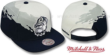Georgetown 'PAINTBRUSH SNAPBACK' White-Grey-Navy Hat by Mitchell and Ness