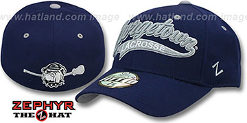 Georgetown SWOOP LACROSSE Navy Fitted Hat by Zephyr