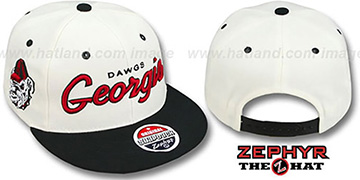 Georgia '2T HEADLINER SNAPBACK' White-Black Hat by Zephyr