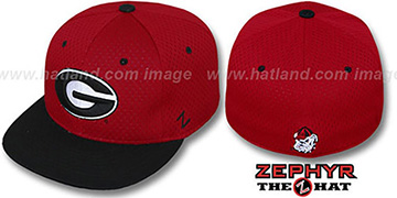 Georgia 'DOUBLE PLAY MESH' Red-Black Fitted Hat by Zephyr