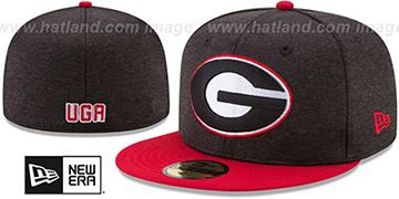 Georgia 'HEATHER-HUGE' Black-Red Fitted Hat by New Era