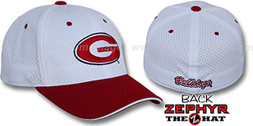 Georgia 'SPLIT BP-MESH' White-Red Fitted Hat by Zephyr