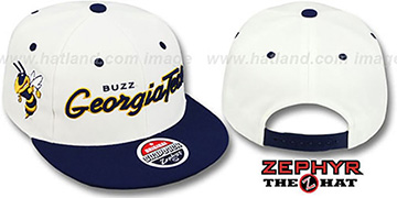 Georgia Tech HEADLINER White Navy hat by Zephyr