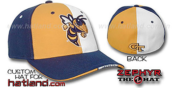 Georgia Tech 'TWIST' Gold-White-Navy Fitted Hat by Zephyr