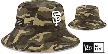 Giants 2021 ARMED FORCES STARS N STRIPES BUCKET Hat by New Era