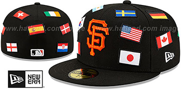 Giants ALL-OVER COUNTRY FLAGS Black Fitted Hat by New Era