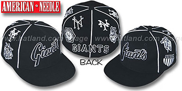 Giants 'COOPERSTOWN ALL-OVER' Black Fitted Hat by American Needle