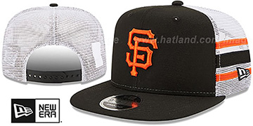 Giants SIDE-STRIPE TRUCKER SNAPBACK Black Hat by New Era