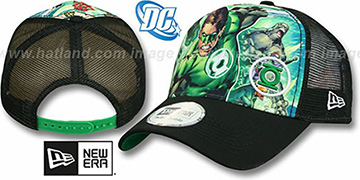 Green Lantern 'SPLASH FRONT TRUCKER' Adjustable Hat by New Era