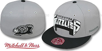 Grizzlies 2T XL-WORDMARK Grey-Black Fitted Hat by Mitchell & Ness