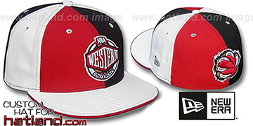 Grizzlies CONFERENCE 'PINWHEEL' Red-Black-White Fitted Hat