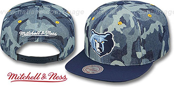 Grizzlies 'DENIM-CAMO SNAPBACK' Blue Hat by Mitchell and Ness
