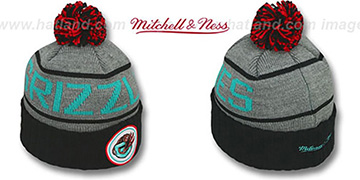 Grizzlies HIGH-5 CIRCLE BEANIE Grey-Black by Mitchell and Ness
