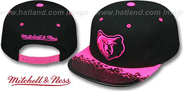Grizzlies 'NEON-LAVA SNAPBACK' Black-Pink Hat by Mitchell and Ness