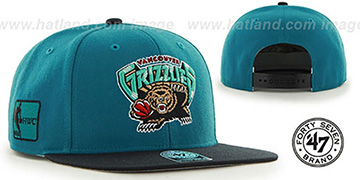 Grizzlies 'SURE-SHOT SNAPBACK' Teal-Black Hat by Twins 47 Brand