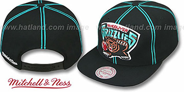 Grizzlies 'XL-LOGO SOUTACHE SNAPBACK' Black Adjustable Hat by Mitchell & Ness