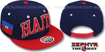 Haiti '2T SUPER-ARCH SNAPBACK' Navy-Red Adjustable Hat by Zephyr