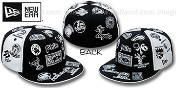 Hardwood 'ALL-OVER PINWHEEL' Black-White Fitted Hat by New Era