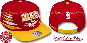 Hawks '2T DIAMONDS SNAPBACK' Red-Gold Adjustable Hat by Mitchell & Ness
