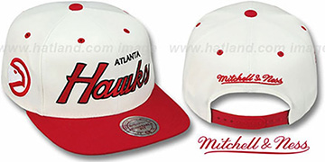 Hawks '2T TEAM-SCRIPT SNAPBACK' White-Red Hat by Mitchell & Ness