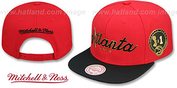 Hawks 'CITY CHAMPS SCRIPT SNAPBACK' Red-Black Hat by Mitchell and Ness
