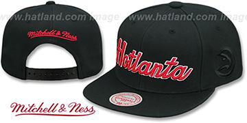 Hawks CITY NICKNAME SCRIPT SNAPBACK Black Hat by Mitchell and Ness