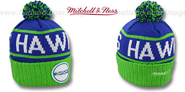 Hawks HIGH-5 CIRCLE BEANIE Royal-Green by Mitchell and Ness