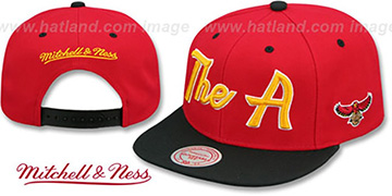 Hawks HWC CITY NICKNAME SCRIPT SNAPBACK Red-Black Hat by Mitchell and Ness