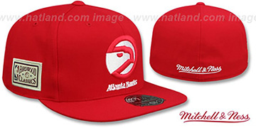 Hawks HWC SIDE-PATCH Red Fitted Hat by Mitchell and Ness