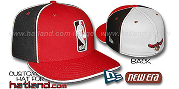 Hawks 'LOGOMAN-2' Red-Black-White Fitted Hat by New Era