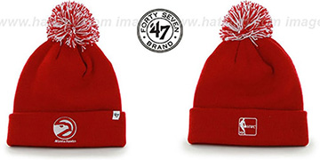 Hawks POMPOM CUFF Red Knit Beanie Hat by Twins 47 Brand
