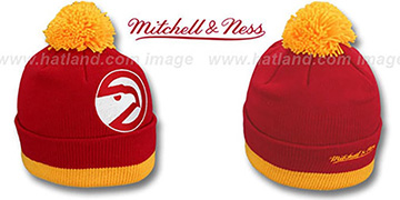 Hawks XL-LOGO BEANIE Red by Mitchell and Ness