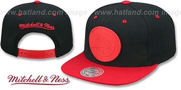 Hawks 'XL RUBBER WELD SNAPBACK' Black-Red Adjustable Hat by Mitchell and Ness