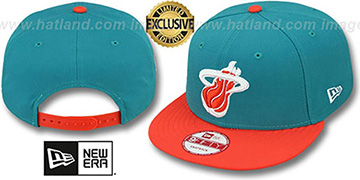 Heat '2T OPPOSITE-TEAM' SNAPBACK Aqua-Orange Hat by New Era