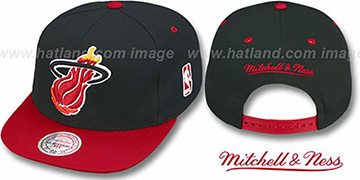 Heat '2T XL-LOGO SNAPBACK' Black-Red Adjustable Hat by Mitchell & Ness