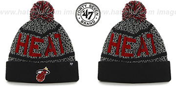 Heat BEDROCK Black-Grey Knit Beanie Hat by Twins 47 Brand