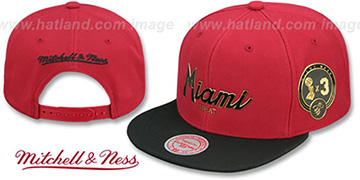 Heat CITY CHAMPS SCRIPT SNAPBACK Cardinal-Black Hat by Mitchell and Ness