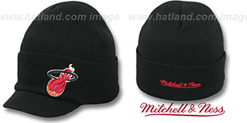 Heat CUFFED-VISOR KNIT BEANIE Black Hat by Mitchell and Ness