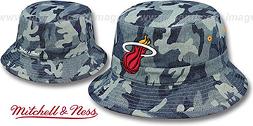 Heat DENIM-CAMO BUCKET Blue Hat by Mitchell and Ness